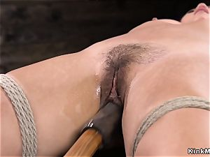 fur covered chinese fingerblasted in hog-tie suspension