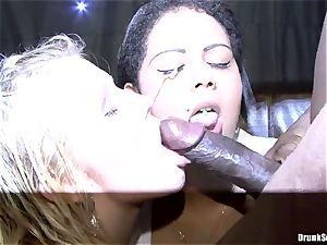 Bibi Fox and tipsy pals enjoy black come on face