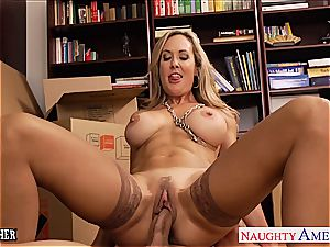 super-hot schoolteacher Brandi love gags on his thick hard-on
