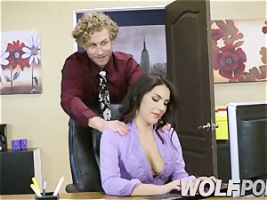 horny assistant Give a inhale job to your chief