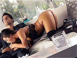 sexy Eva Lovia is instructing her beau some manners before the party