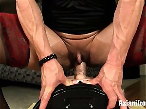 two muscular girls flash off finger and fuck stick