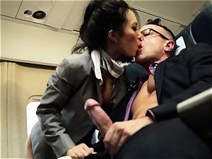 Asa Akira and her hostess friends poke on flight