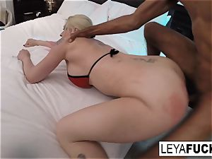 gonzo buttfuck interracial screwing with Leya Falcon