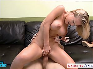 big-chested blond Nicole Aniston ride lollipop