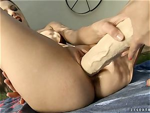 marvelous Blue Angel opens up this supersluts vagina open