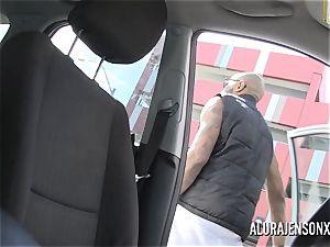 big hooter cougar Alura Jenson pummels her black Boober driver