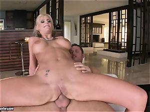 assfuck paramour Phoenix Marie bounces her booty on a massive hard-on